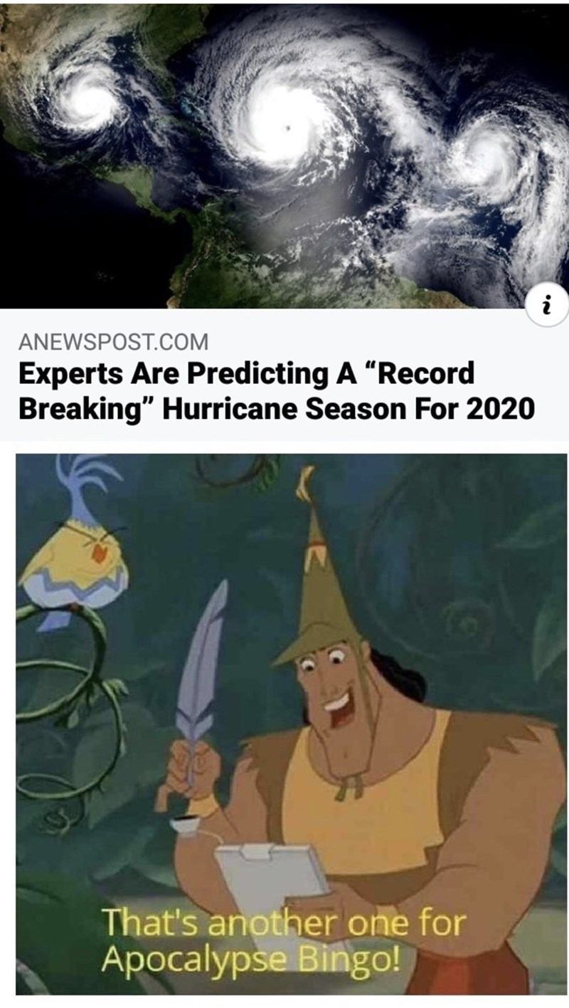 "Cartoon - ANEWSPOST.COM Experts Are Predicting A ""Record Breaking"" Hurricane Season For 2020 That's another one for Apocalypse Bingo!"