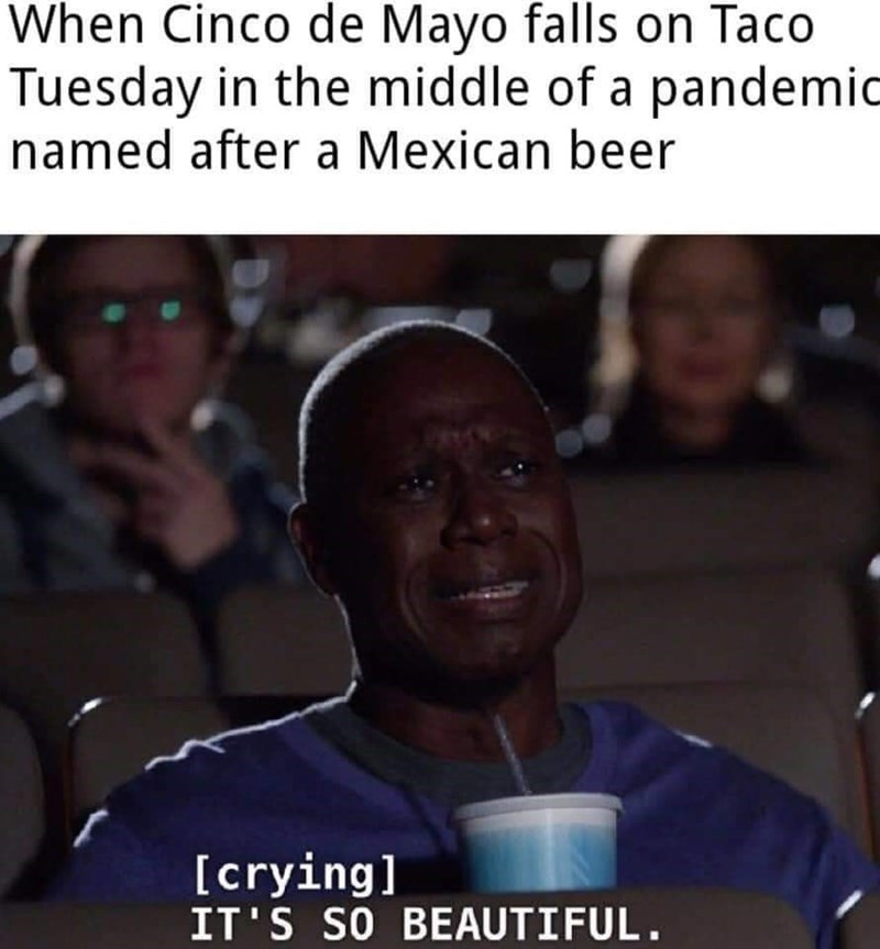 People - When Cinco de Mayo falls on Taco Tuesday in the middle of a pandemic named after a Mexican beer [crying] IT'S SO BEAUTIFUL.