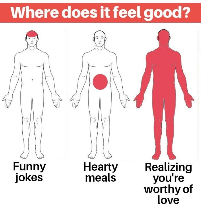 Standing - Where does it feel good? Funny jokes Realizing you're worthy of love Hearty meals