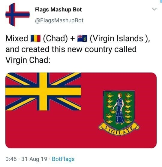 Text - Flags Mashup Bot @FlagsMashupBot Mixed I (Chad) + (Virgin Islands), and created this new country called Virgin Chad: VIGIL ATE 0:46 · 31 Aug 19 · BotFlags