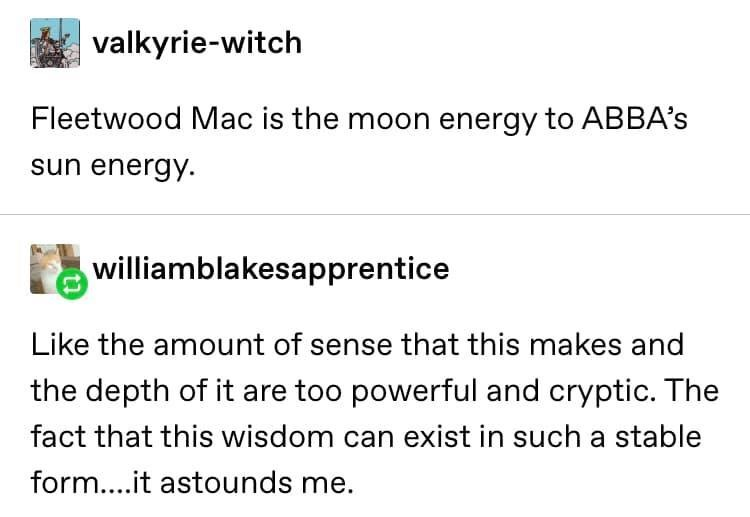 Text - valkyrie-witch Fleetwood Mac is the moon energy to ABBA's sun energy. williamblakesapprentice Like the amount of sense that this makes and the depth of it are too powerful and cryptic. The fact that this wisdom can exist in such a stable form...it astounds me.