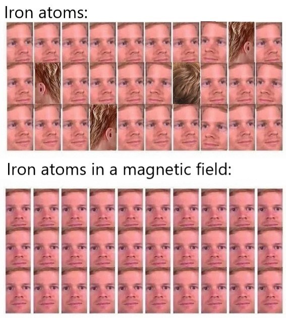 Pink - Iron atoms: Iron atoms in a magnetic field: