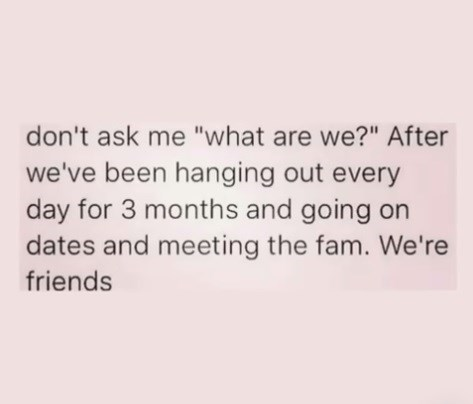 "Text - don't ask me ""what are we?"" After we've been hanging out every day for 3 months and going on dates and meeting the fam. We're friends"