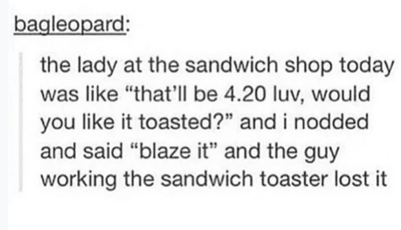"Text - bagleopard: the lady at the sandwich shop today was like ""that'll be 4.20 luv, would you like it toasted?"" and i nodded and said ""blaze it"" and the guy working the sandwich toaster lost it"