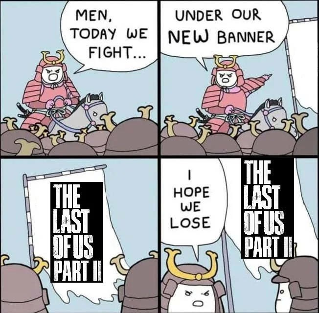Cartoon - MEN, UNDER OUR TODAY WE NEW BANNER FIGHT... THE LAST OFUS PART I THE LAST OFUS PART I НОРЕ WE LOSE