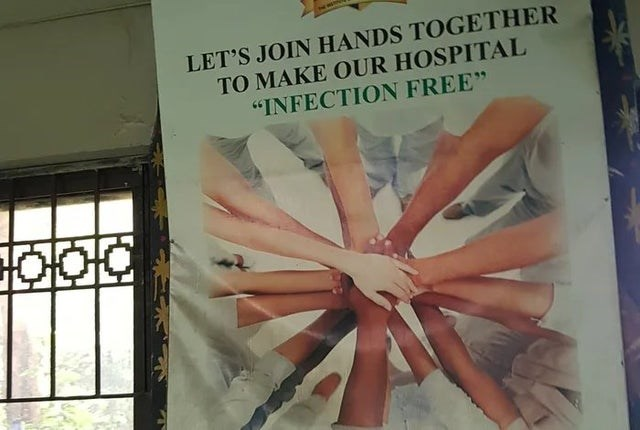 "Design - LET'S JOIN HANDS TOGETHER TO MAKE OUR HOSPITAL ""INFECTION FREE"""