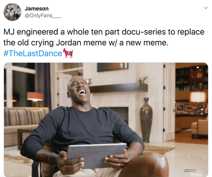 Product - Jameson @OnlyFans_ MJ engineered a whole ten part docu-series to replace the old crying Jordan meme w/ a new meme. #TheLastDance