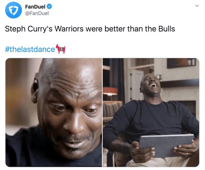 Face - FanDuel @FanDuel Steph Curry's Warriors were better than the Bulls #thelastdance