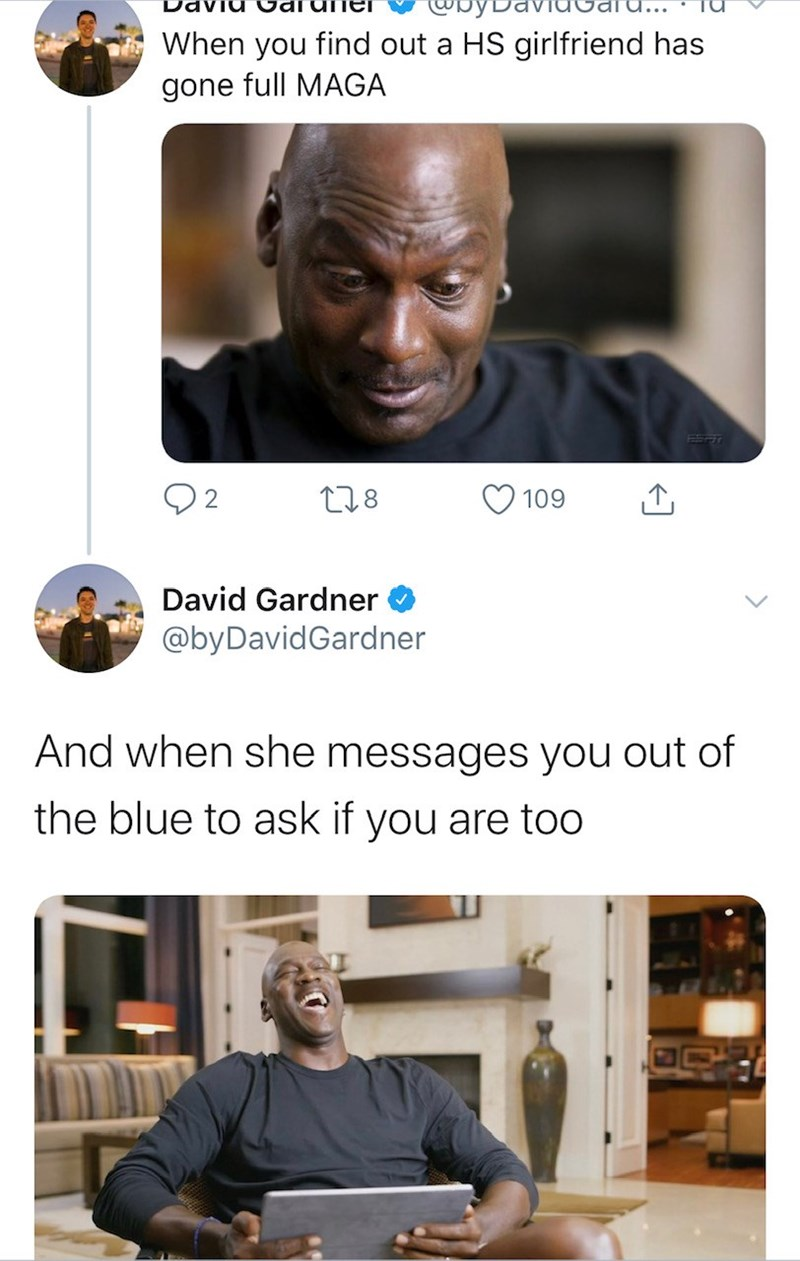 Facial expression - When you find out a HS girlfriend has gone full MAGA 278 109 David Gardner @byDavidGardner And when she messages you out of the blue to ask if you are too