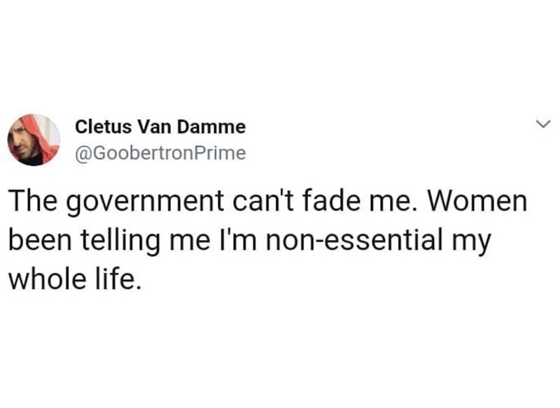 Text - Cletus Van Damme @GoobertronPrime The government can't fade me. Women been telling me I'm non-essential my whole life.