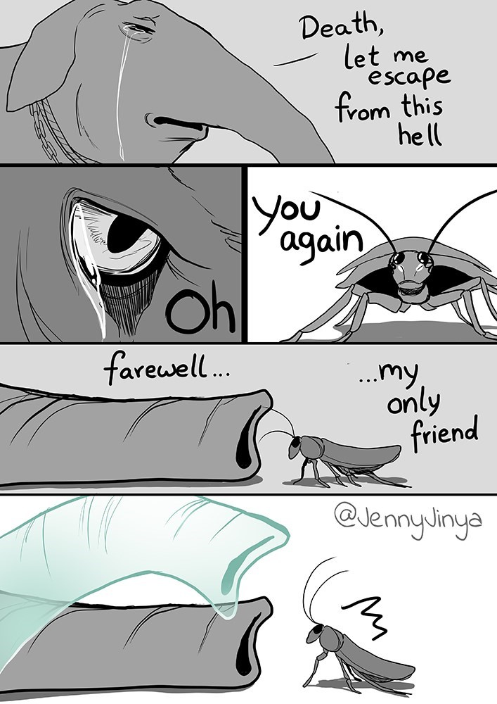 Cartoon - Death, let escape from this hell me You again Oh farewell. ..my, only friend @JennyJinya