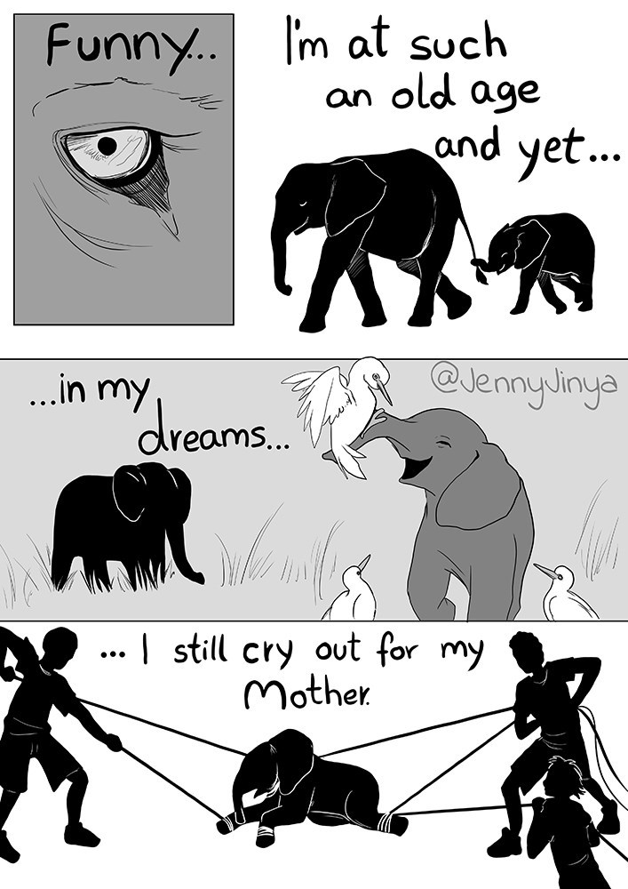 Cartoon - Funny.. I'm at such an old age and yet.. .in my, @JennyJinya dreams.. ..| still cry out for my Mother •