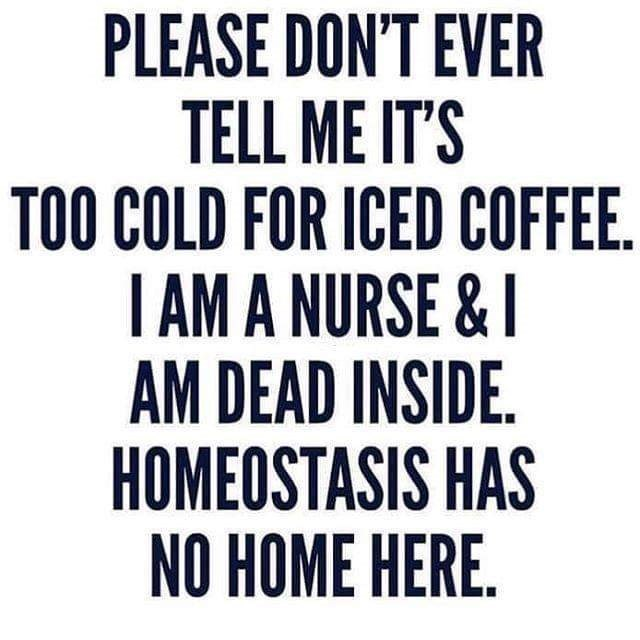 Font - PLEASE DON'T EVER TELL ME IT'S TOO COLD FOR ICED COFFEE. I AM A NURSE & I AM DEAD INSIDE. HOMEOSTASIS HAS NO HOME HERE.