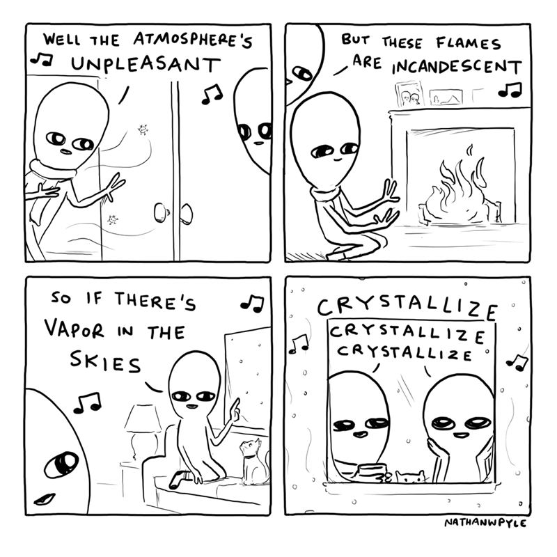 Text - White - BUT THESE FLAMES WELL THE ATMOSPHERE 'S ARE INCANDESCENT A UNPLEASANT CRYSTALLIZE CRYSTALL 1ZE CRYSTALLIZE So IF THERE'S VAPOR IN THE SKIES NATHANWPYLE