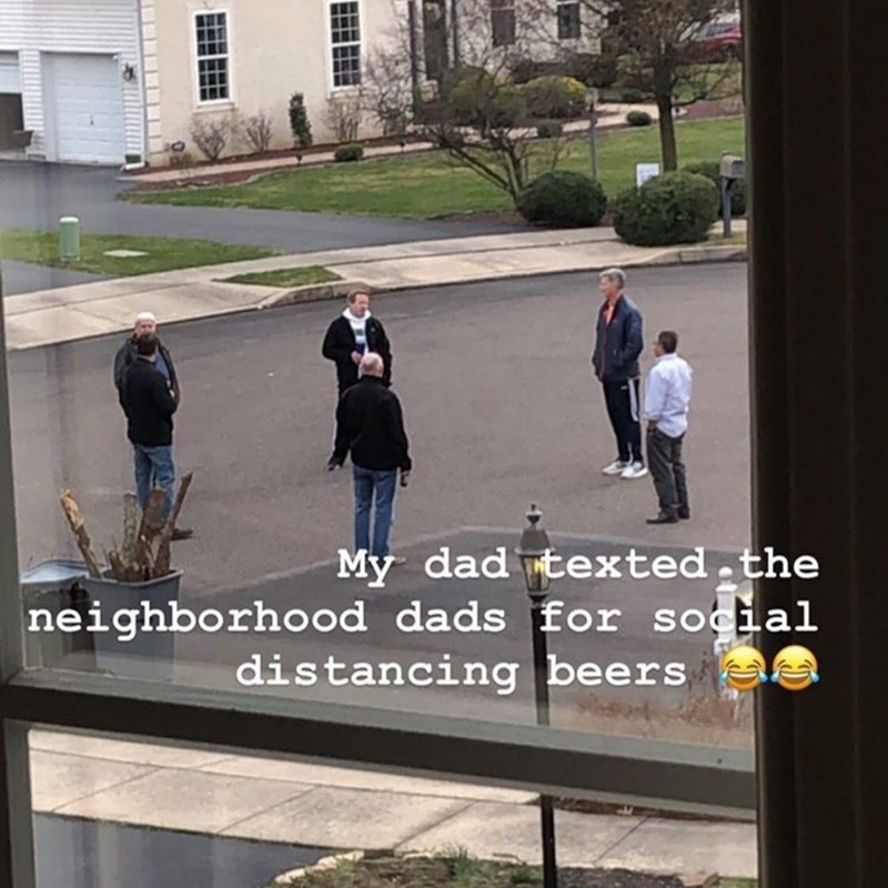 Text - Public space - My dad texted.the neighborhood dads for social distancing beers
