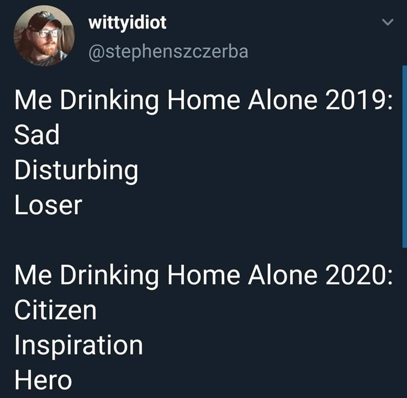 Text - wittyidiot @stephenszczerba Me Drinking Home Alone 2019: Sad Disturbing Loser Me Drinking Home Alone 2020: Citizen Inspiration Hero