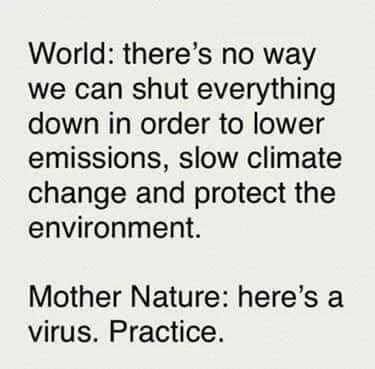 Text - World: there's no way we can shut everything down in order to lower emissions, slow climate change and protect the environment. Mother Nature: here's a virus. Practice.