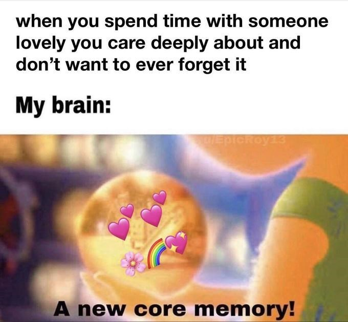 Text - when you spend time with someone lovely you care deeply about and don't want to ever forget it My brain: EpicRoy33 A new core memory!