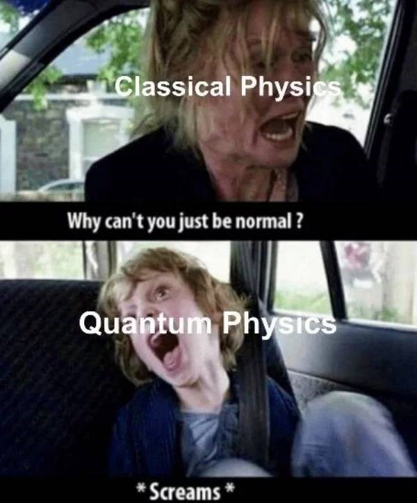 Photo caption - Classical Physics Why can't you just be normal ? Quantum Physics * Screams