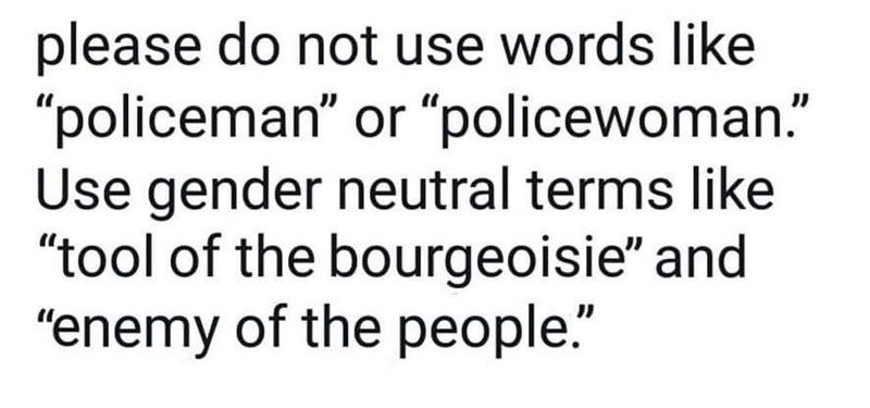 "Text - please do not use words like ""policeman"" or ""policewoman."" Use gender neutral terms like ""tool of the bourgeoisie"" and ""enemy of the people."""