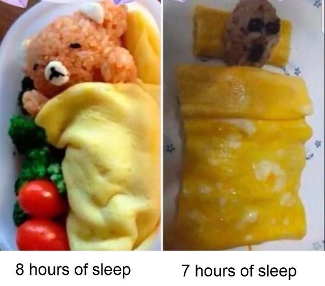 Food - 8 hours of sleep 7 hours of sleep