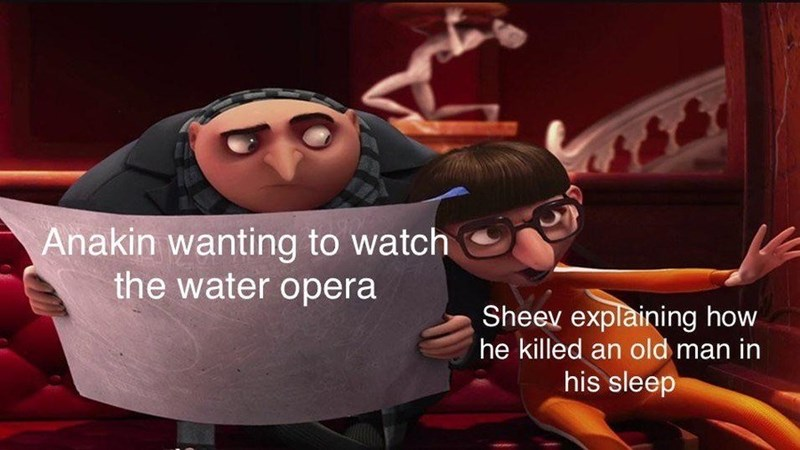 Animated cartoon - Anakin wanting to watch the water opera Sheev explaining how he killed an old man in his sleep