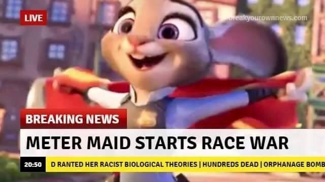 Animated cartoon - LIVE reakyourownews.com BREAKING NEWS METER MAID STARTS RACE WAR 20:50 D RANTED HER RACIST BIOLOGICAL THEORIES | HUNDREDS DEADI ORPHANAGE BOMB