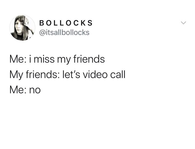 Text - BOLLOCKS @itsallbollocks Me: i miss my friends My friends: let's video call Мe: no