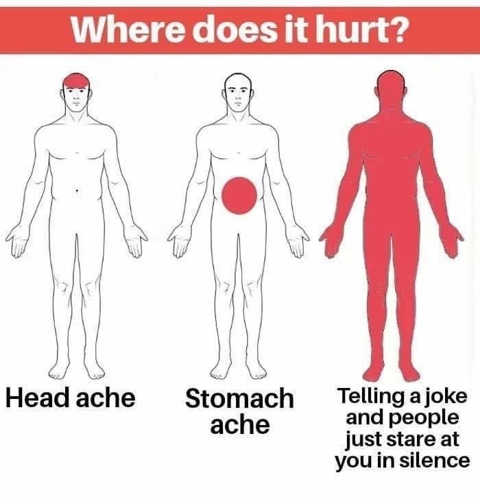 Standing - Where does it hurt? Stomach ache Telling a joke and people just stare at you in silence Head ache