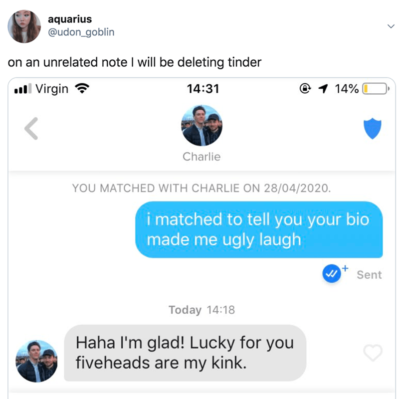 Text - aquarius @udon_goblin on an unrelated note I will be deleting tinder ull Virgin 14:31 @ 1 14% Charlie YOU MATCHED WITH CHARLIE ON 28/04/2020. i matched to tell you your bio made me ugly laugh Sent Today 14:18 Haha l'm glad! Lucky for you fiveheads are my kink.