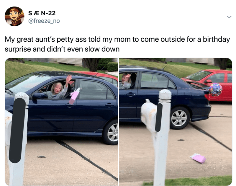 Vehicle door - SÆN-22 @freeze_no My great aunt's petty ass told my mom to come outside for a birthday surprise and didn't even slow down