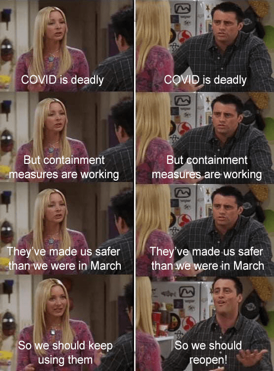 Funny meme from the TV show 'Friends' about why it's important to continue social distancing | COVlD is deadly but containment measures are working they've made us safer than we were in March
