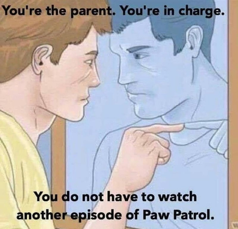 Face - You're the parent. You're in charge. You do not have to watch another episode of Paw Patrol.