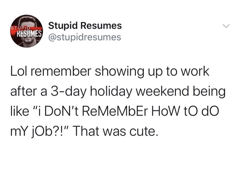 "Text - Stupid Resumes @stupidresumes STUPID RESUMES Lol remember showing up to work after a 3-day holiday weekend being like ""i DoN't ReMeMbEr HoW to do mY jOb?!"" That was cute."