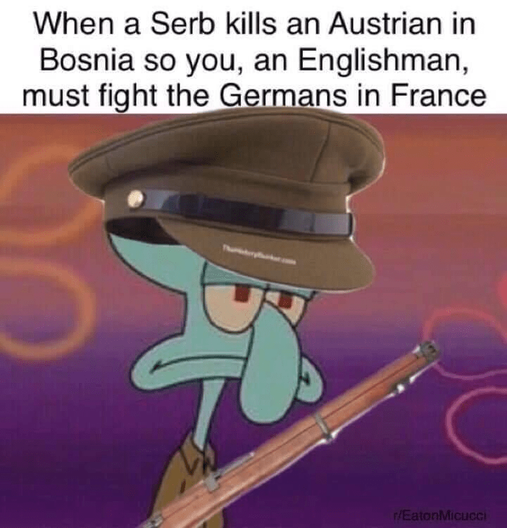 Cartoon - When a Serb kills an Austrian in Bosnia so you, an Englishman, must fight the Germans in France Pu r/EatonMicucci