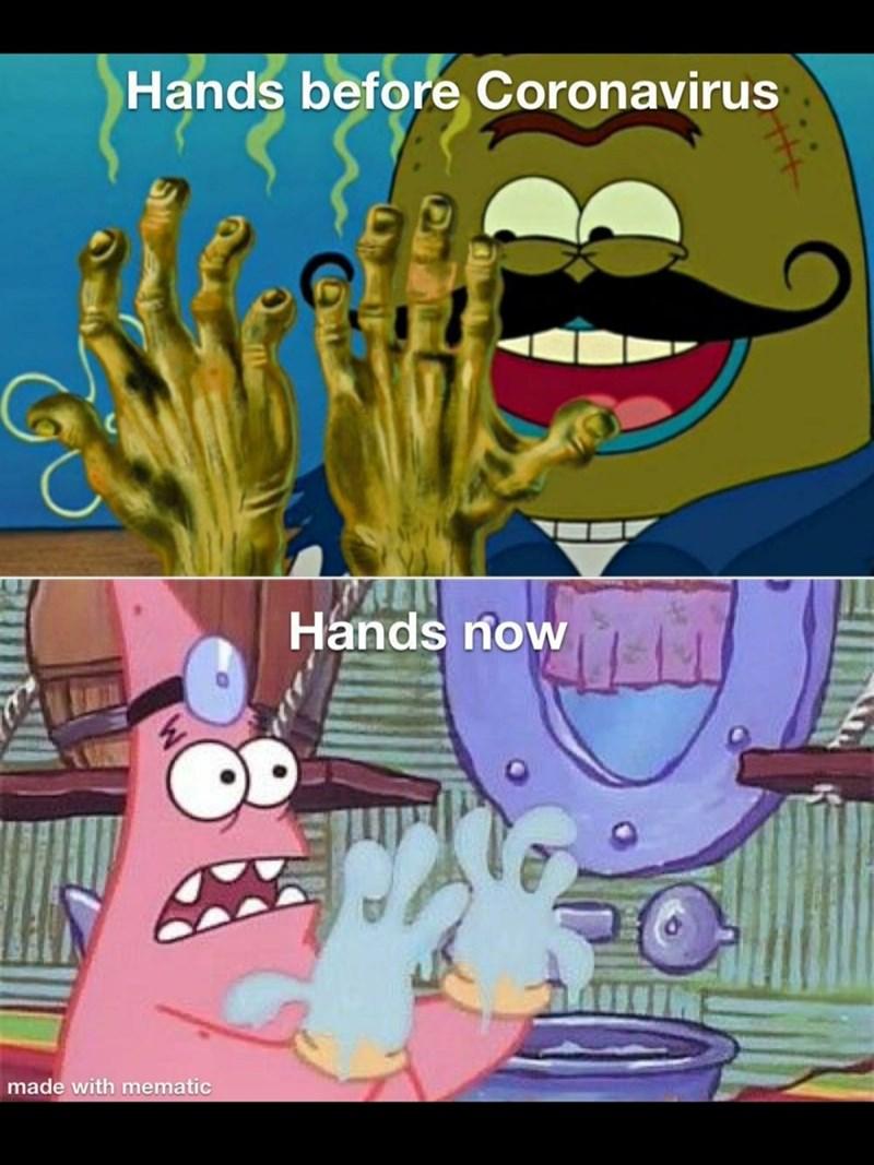 Cartoon - Hands before Coronavirus Hands now made with mematic