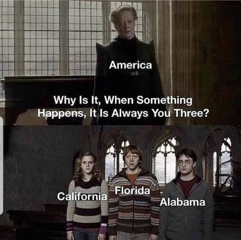 Photo caption - America Why Is It, When Something Happens, It Is Always You Three? Florida California Alabama