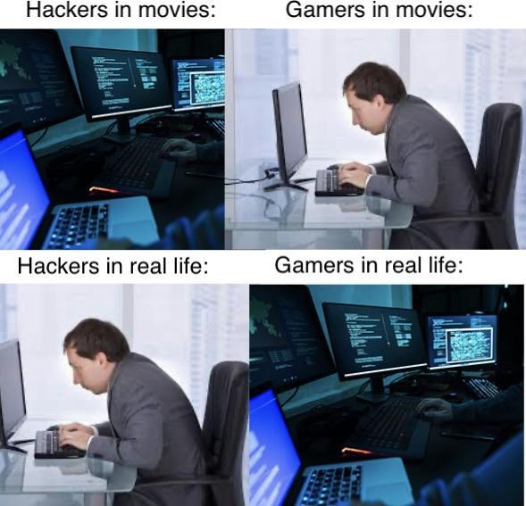Product - Hackers in movies: Gamers in movies: Hackers in real life: Gamers in real life: