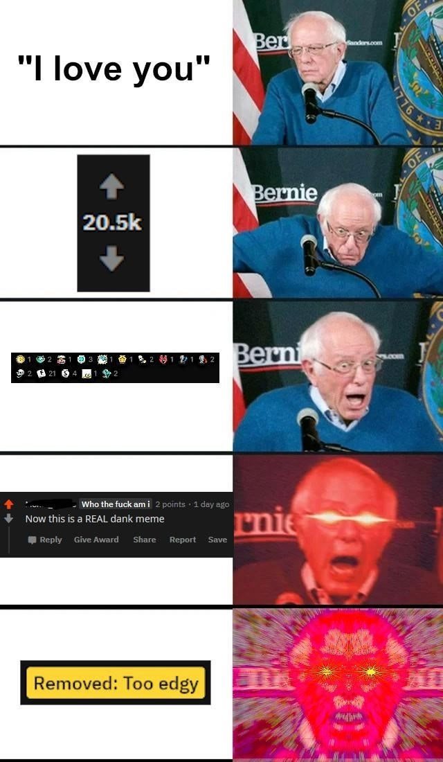 "Facial expression - OF Ber ""I love you"" andars.com 76 * OF Bernie 20.5k Berni 等1212 .com Who the fuck am i 2 points 1 day ago rnie Now this is a REAL dank meme Reply Give Award Share Report Save Removed: Too edgy"