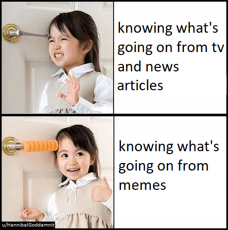Facial expression - knowing what's going on from tv |and news articles knowing what's going on from memes u/HannibalGoddamnit