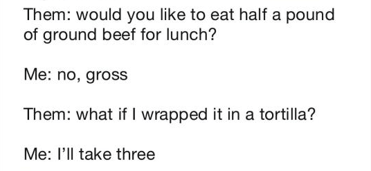Text - Them: would you like to eat half a pound of ground beef for lunch? Me: no, gross Them: what if I wrapped it in a tortilla? Me: l'll take three