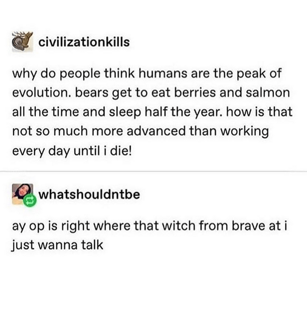 Text - civilizationkills why do people think humans are the peak of evolution. bears get to eat berries and salmon all the time and sleep half the year. how is that not so much more advanced than working every day until i die! whatshouldntbe ay op is right where that witch from brave at i just wanna talk