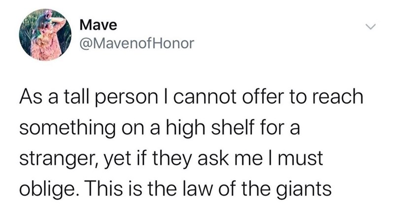 Funny tweet about tall people grabbing something from a tall shelf for a short person As a tall person I cannot offer to reach something on a high shelf for a stranger, yet if they ask me I must oblige. This is the law of the giants