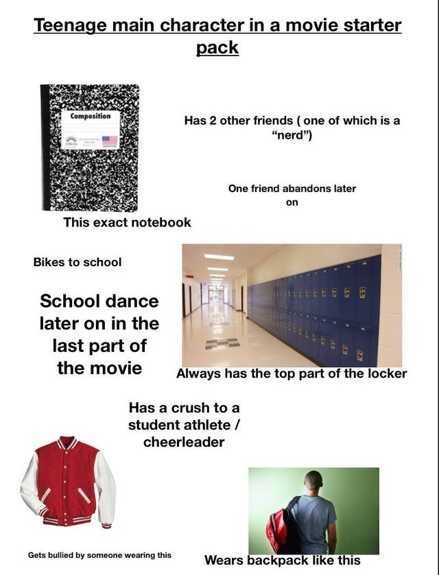 """Text - Teenage main character in a movie starter pack Composition Has 2 other friends ( one of which is a """"nerd"""") One friend abandons later on This exact notebook Bikes to school School dance later on in the last part of the movie Always has the top part of the locker Has a crush to a student athlete / cheerleader Gets bullied by someone wearing this Wears backpack like this"""