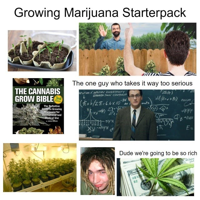 Soil - Growing Marijuana Starterpack The one guy who takes it way too serious THE CANNABIS GROW BIBLErd GRArER THAN CONSANT Edtias (=h/27=6.6 x 10 -34 The Definitive Guide to Growing Marijuana for Recreational and Medical Use ants 6 EME E= Dude we're going to be so rich HB 4506 82