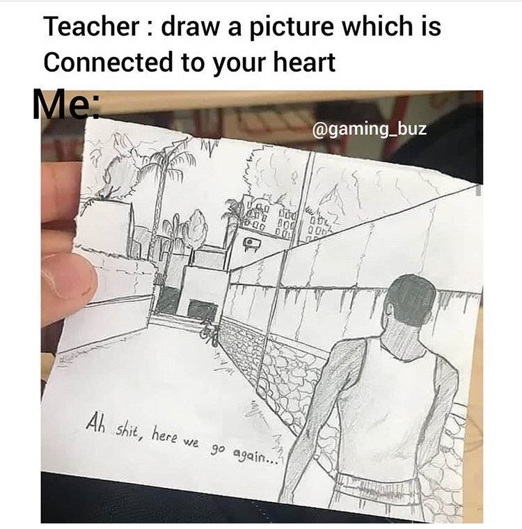Cartoon - Teacher : draw a picture which is Connected to your heart Me: @gaming_buz Ab shit, here vwe go again..""