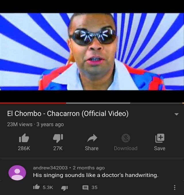 Eyewear - El Chombo - Chacarron (Official Video) 23M views · 3 years ago 286K 27K Share Download Save andrew342003• 2 months ago His singing sounds like a doctor's handwriting. 5.3K 35