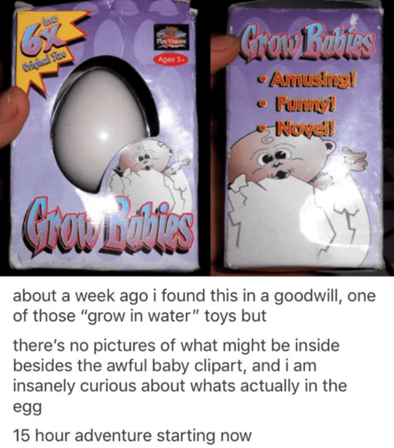 """Cartoon - Graw Babies Play Vistns Ages 5. Criçinal Size Amusing! Funnyi eNovel about a week ago i found this in a goodwill, one of those """"grow in water"""" toys but there's no pictures of what might be inside besides the awful baby clipart, and i am insanely curious about whats actually in the egg 15 hour adventure starting now"""