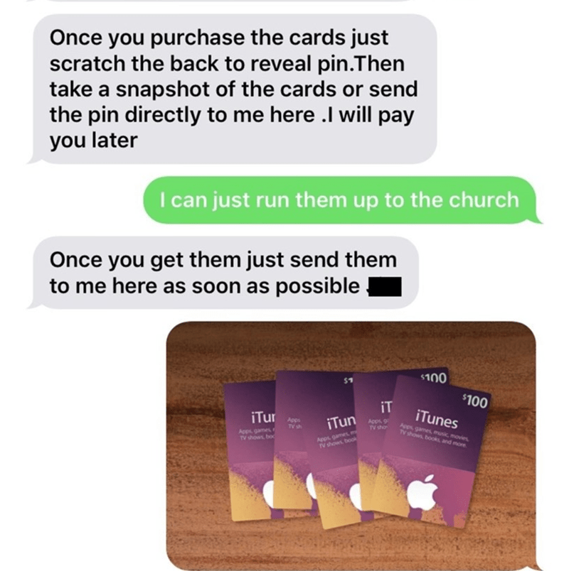 Text - Once you purchase the cards just scratch the back to reveal pin.Then take a snapshot of the cards or send the pin directly to me here .I will pay you later I can just run them up to the church Once you get them just send them to me here as soon as possible $100 $100 iT iTunes Apps, games, music, movies V shows books iTur Apps TV sh iTun Apps TV sho Apps games TV shows, boc Apps games m IV shows book A and more