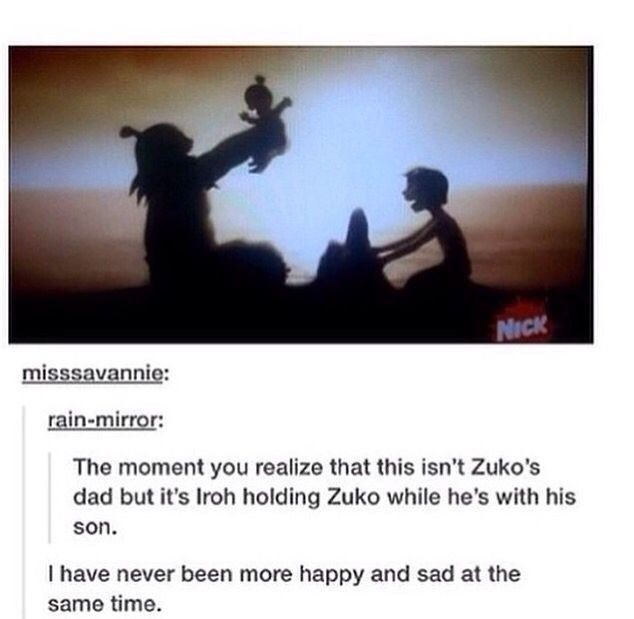 Text - NICK misssavannie: rain-mirror: The moment you realize that this isn't Zuko's dad but it's Iroh holding Zuko while he's with his son. I have never been more happy and sad at the same time.